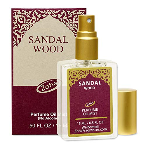 Sandalwood Perfume Oil Mist (no alcohol spray) - Natural Organic Essential Oils and Hypoallergenic Vegan Perfumes for Women and Men by Zoha Fragrances, 15 ml / 0.50 fl Oz
