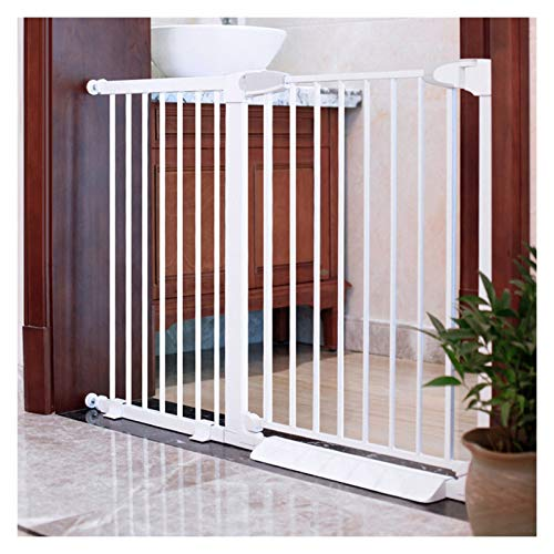 Stairway Safety Gate, Kid Gate for Dog Child Guard, 76cm Height Guardrail Dog Fence for Bedroom Kitchen, 23 Sizes (Color : White, Size : 64-70cm)