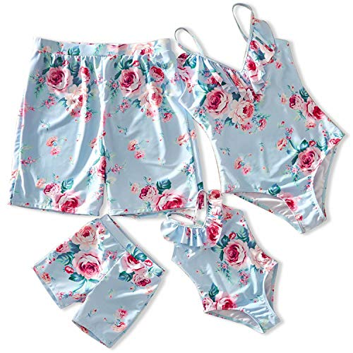 IFFEI Familie Bijpassende Badmode Een Stuk Monokini V Nek Bloemen Gedrukt Strappy Badpak Mama en Me Strandkleding