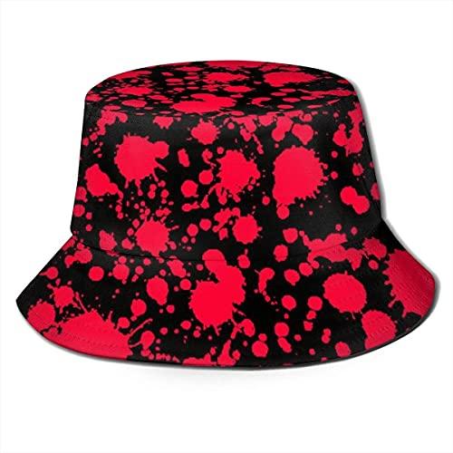 Sombrero de sol, protección solar al aire libre, para safari, pesca, senderismo, playa, golf, colorido perro huella, clásico terror, salpicadura de sangre, color negro
