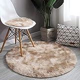 Tappeto tondo tondo con capelli lunghi, cesto appeso, sedia per computer, toletta, tappetino per guardaroba-Cachi_Diametro 160 cm