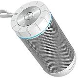 Enceinte Bluetooth 12W, COMISO Haut-Parleur Bluetooth sans Fil Stereo Portable, 36 Heures d'Autonomie en Lecture, Surround 360 Degré Définition Stéréo, Compatible avec iPhone, iPad (Blanc)