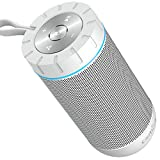 Altavoz Bluetooth Portatil, COMISO Ture Wireless Estereo 12W Subwoofer Inalambrico Portatil con Radiador Pasivo, Altavoz Bluetooth Impermeable con 20 Horas de Emision Continua, Gris Oscuro (White)