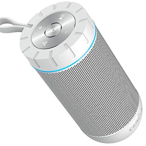 COMISO Wasserdicht Bluetooth Lautsprecher Kabellose Portabler 12W Lautsprecher Box mit 36-Stunden Spielzeit & Dual-Treiber Wireless Speakers mit Mikrofon und Reinem Bass (Weiß)