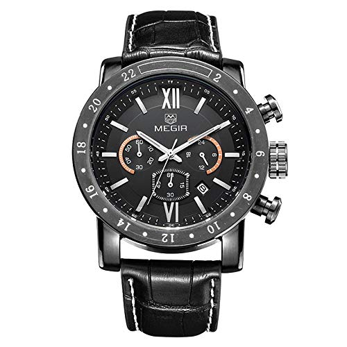 Reloj con brújula de Cuarzo con brújula con Movimiento de Tres manecillas para Hombre -E