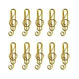 YUYDYU 10 clips de papel pequeños dorados, con forma de nota musical, marcadores para decoración de libros, notas, papel, carteles, fotos, carta.