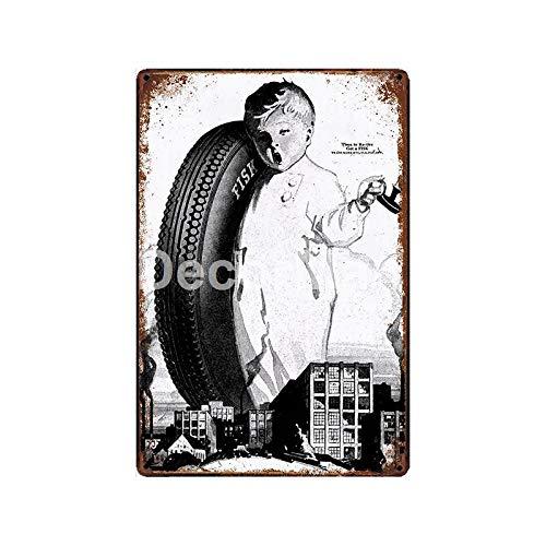 Yycsqy IJzeren schilderij tinnen metaal schilderij vintage metaal wandkunst metalen metalen plaat plastic motor banden eiken tin teken muurschilderij bar decor 30*20cm Glc-10916