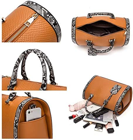 Mn&Sue Women Satchel Crocodile Cobra Pattern Top Handle Purse Cross Body Doctor Handbag