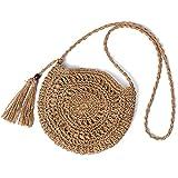 Straw Shoulder Bag, Kadell Women Handmade Summer Beach Crossbody Bag Hemp Rope Bag, for Travel Outing Dating, for Girls Ladies Women, comes with tassels