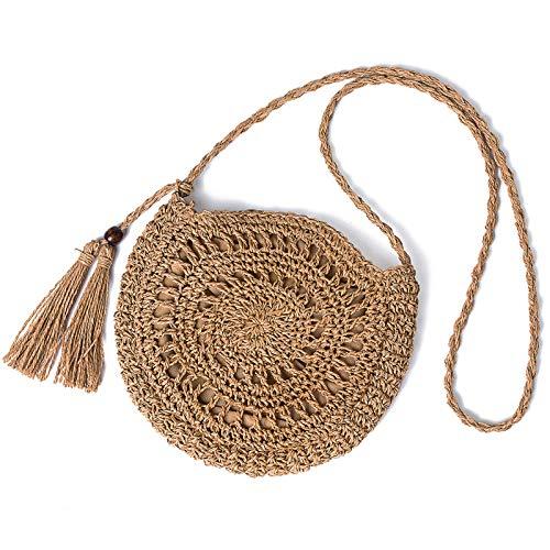 JOSEKO - Borsa di paglia a croce per donne, borsa a paglia rotonda per maglieria estiva, spiaggia, viaggi e vita quotidiana