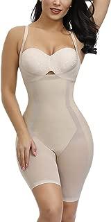 FEDNON Women's Shapewear Butt Lifter Body Shaper Tummy Control Open Bust Long Leg Body Suit Thigh Slimmer