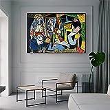 Pablo Picasso Canvas Art Vintage Painting MUJERES DE ARGEL Carteles e impresiones Imagen de arte de pared para sala de estar Decoración del hogar 40x90cm (16x35in) con marco