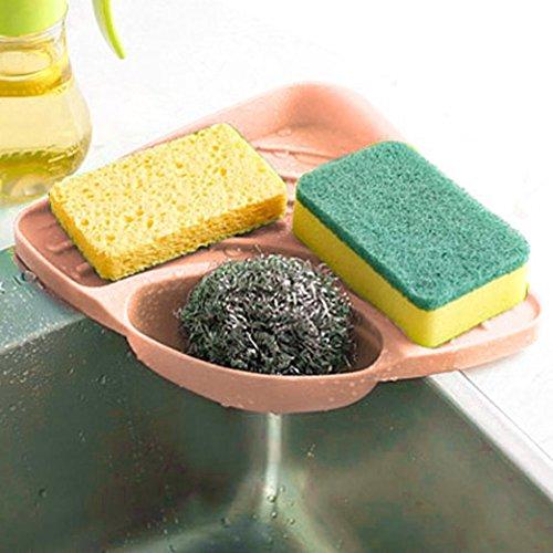 CieKen Kitchen Sink Caddy Sponge Holder Cleaning Brush Holder Scratcher Holder Sink Organizer (Pink)