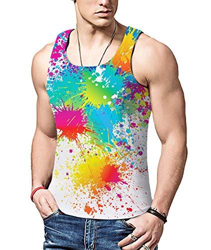 ALISISTER ALISISTER Männer 3D Print Graffiti Weste Mode Tank Tops Ärmelloses Tanktop T-Shirt L