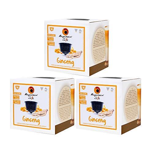 MAGAZZINI DEL CAFFE Caffè al Ginseng Solubile, 48 Capsule Compatibili Nescafè Dolce Gusto di Preparato per Bevanda al Gusto di Caffè al Ginseng, Made in Italy, OGM Free, Senza Glutine e Olio di Palma