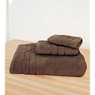 Cariloha Crazy Soft Bamboo 3 Piece Towel Set - Odor Resistant - Moisture Wicking - Bath Towel, Hand Towel and Washcloth (Almond Truffle)