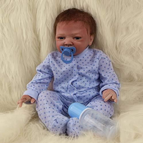 ZIYIUI Realista 18 Inch 45 cm Muñeca Reborn Bebé Niño Pequeño Suave Silicona Vinilo Reborn Baby Doll Niñas Juguetes Bebes Recien Nacidos Ojos Abiertos Boy