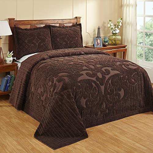 Better Trends Ashton Collection Tagesdecke aus 100 prozent Baumwolle, gesteppt, Chenille, Queensize-Tagesdecke, Schokoladenbraun