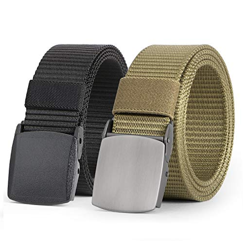 JASGOOD Nylon Canvas Breathable Military Tactical Men Waist Belt With Two Buckles-YKK and Metal(Suit for pant size below 40Inch,03-Black+Khaki)