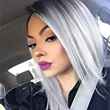 Quick Wig Ombre Wigs Grey Short Straight Bob Wig Black to Grey Middle Part Heat Resistant Fiber Synthetic Cosplay Party Wigs for Women 14 inches