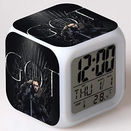 Q2024 Kindernachtkastje, digitale wekker, led, kleurrijk nachtlampje, sfeerwekker, vierkante horloge, aanrakingsschakelaar, kleine wekker met usb-oplaadaansluiting, cadeau voor kinderen