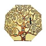 Paraguas de Viaje pequeño a Prueba de Viento al Aire Libre Lluvia Sol UV Auto Compacto 3 Pliegues Cubierta de Paraguas - Arte Colorido árbol de la Vida