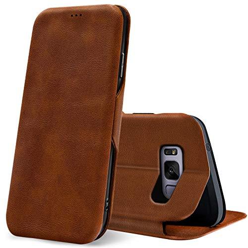 Verco Case per Samsung Galaxy S8 Custodia, Cover a Libro Pelle PU per Samsung S8 Custodia Premio Booklet Protettiva, Marrone