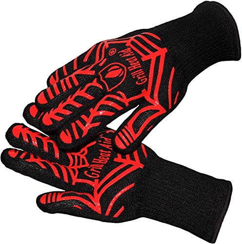 Extreme Heat Resistant Grill/BBQ Gloves   Premium Insulated Durable Fireproof Kitchen Mitts Designed for Cooking, Grilling, Frying, Baking   Indoor/Outdoor Accessories for Men & Women