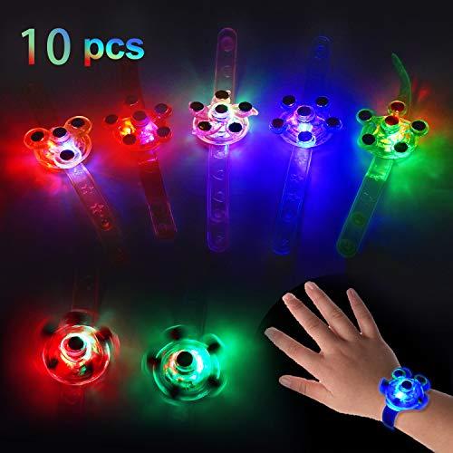 NAOLIU 10 Stück LED-Leuchtspielzeug,LED-Armbänder für Jungen und Mädchen,Drehbares Leuchtarmband, Blinkendes Armband Glow In The Dark,Partyartikel für Kinder,Leuchtarmband für Geburtstagsgeschenk