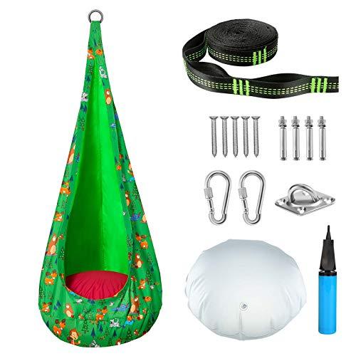 Greenstell Hängesessel für Kinder, Hängehöhle mit Zubehörteil und Drehlager, Hängesack mit PVC Sitzkissen Schaukelsitz mit Karikatur 360° Drehung für Kinderzimmer (Grün)