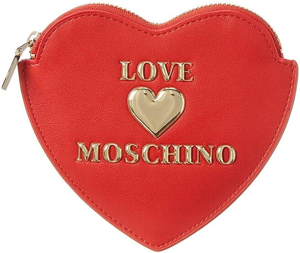 Love moschino portafoglio porta carte di credito a forma di cuore in pelle sintetica