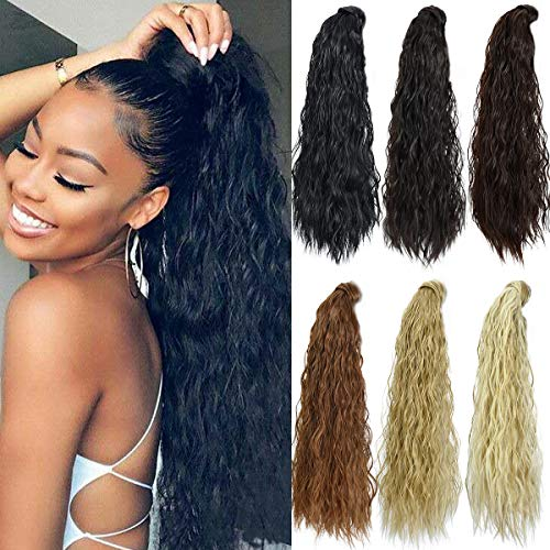 Ponytail Extension,Long Curly Ponytail Hair Extension Dark Brown Clip in Ponytail for Women