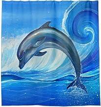 Dolphin Shower Curtain Bath Accessories for Bathroom, Bath Decor, Bright Fabric Bath Curtain, Shower Curtain with 12 Hooks...