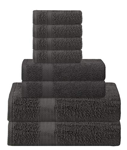 Glamburg Ultra Soft 8-Piece Towel Set - 100% Pure Ringspun Cotton, Contains 2 Oversized Bath Towels 30x54, 2 Hand Towels 16x28, 4 Wash Cloths 13x13 - Ideal for Everyday use, Hotel & Spa -Charcoal Grey