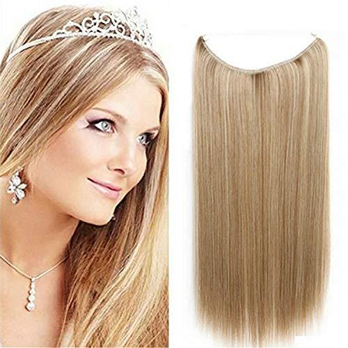 Extension de cheveux raides invisibles de 28 cm - Sans clip - Sans ruban adhésif - Pour femme - 120 g - 18 # Blond cendré foncé