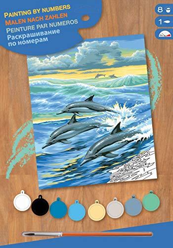MAMMUT 8220031 - Malen nach Zahlen Junior, Delfine, Komplettset mit bedruckter Malvorlage im A4 Format, 8 Acrylfarben, Pinsel und Anleitung, Malset für Kinder ab 8 Jahre