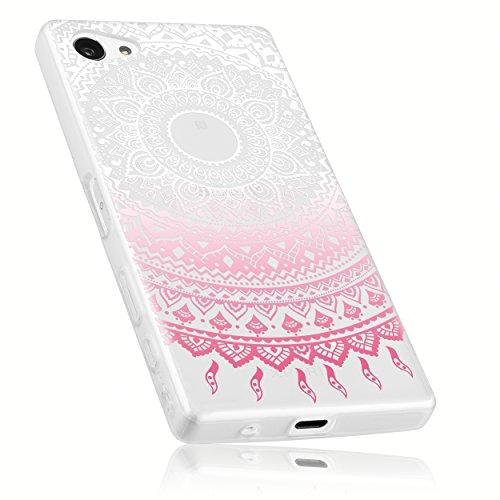 mumbi Hülle kompatibel mit Sony Xperia Z5 Compact Handy Hülle Handyhülle mit Motiv Mandala rosa, transparent rosa
