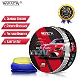 WEICA Car Wax Red Solid for Red Cars, Carnauba Car Wax Kit Cleaner, Car Waxing Scratch Resistance...