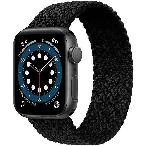 JONWIN Geflochtenes Solo Loop Kompatibel mit Apple Watch Armband 42mm 44mm,Dehnbare Verflochtenen Silikonfasern Sport Ersatzband für Nylon Band für iWatch Serie 6/5/4/3/2/1,SE,Damen,Herren,Black,8#
