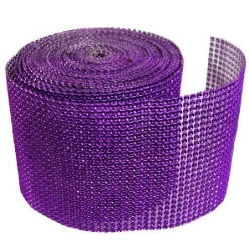 "Diamond Mesh Wrap Roll Rhinestone Crystal Ribbon 4.5"" x 10 Yards (Purple)"