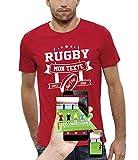 PIXEL EVOLUTION T-Shirt 3D Rugby Texte Personnalisable en Réalité Augmentée Homme - Taille L - Rouge