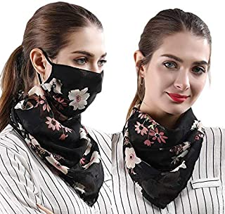 SKUDGEAR Multipurpose Stylish Scarf to Protect from Dust and Pollution, Breathable Anti UV Sun Protection Scarf (Black with Flowers)