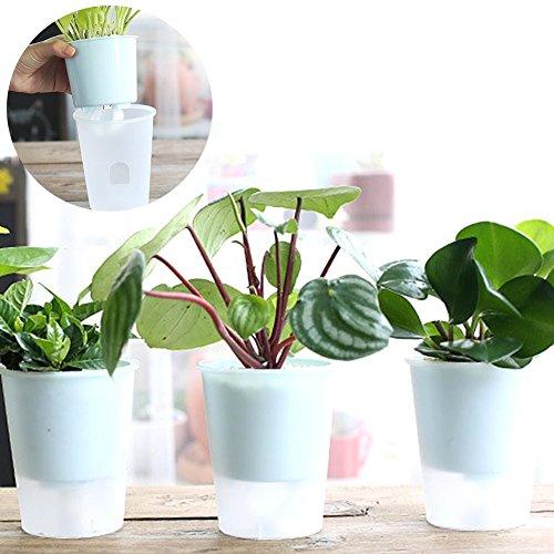 1Selbstwässernder Blumentöpfe, Kunststoff transparent Selbstwässernder Blumentopf Cute Blumentopf Home Garten Decor