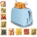 Toaster 2 Slice, Morpilot 2 Slice Toaster with 6 Toasting Settings and Removable Crumb Tray, Extra Stainless Steel Wide Slot, Blue