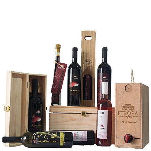 Collezione Vini Colline Salernitane|Cantina Firosa|Confezione da 5 Articoli in Cassa in Legno|Idea Regalo|Vini della Campania