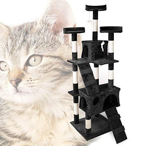 Arbre à Chat en Noir 170 cm avec Plate-Formes Niches...