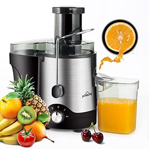 Entsafter,HOMELUX Entsafter Gemüse und Obst, Zentrifugalentsafter 800W Entsafter elektrisch, Entsafter Edelstahl mit 73MM Einfüllöffnung, Juicer,2 Geschwindigkeitsstufen, Anti-Tropf-Funktion