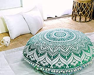 Popular Handicrafts Mandala Round Hippie Floor Pillow Cover (Green, 32