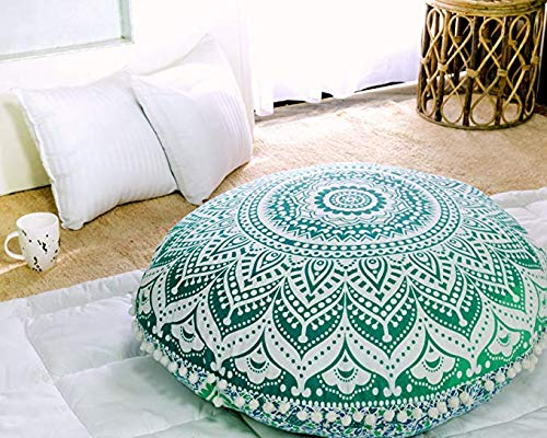 "Popular Handicrafts Large Ombre Mandala Round Hippie Floor Pillow Cover - Cushion Cover - Pouf Cover Bohemian Yoga Decor Floor Cushion Case - 32"" Green"