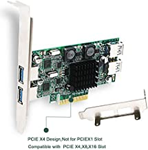 FebSmart 4 Port PCI Express (PCIe) Superspeed USB 3.0 Card Adapter,2 Dedicated 5Gbps Channels 10Gbps Total Banwidth,Build in Self-Powered Technology,No Need Additional Power Supply (FS-2C-U4-Pro)